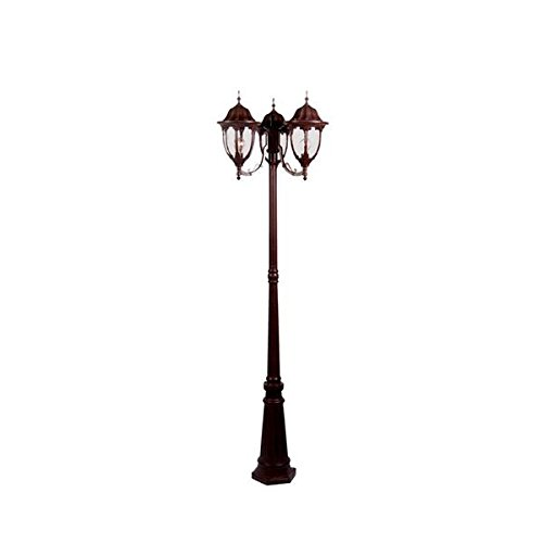 Acclaim 5069BW Suffolk Collection 3-Light Surface Mount Post Outdoor Fixture, Burled Walnut