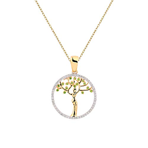 Aurex Natural and Certified Diamond Tsavorite Tree of Life Pendant in 14K Solid Yellow Gold  0.11 Carat Tsavorite and 0.22 Carat H-I Color SI Clarity Diamond Pendant with Chain for ()