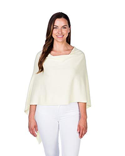 - Caroline Grace by Alashan Trade Wind Cashmere Blend Dress Topper Poncho-LemonIce