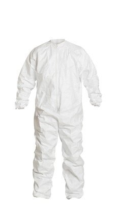 Dupont Safespec White XL Isoclean, Tyvek Cleanroom Coveralls - Fits 28 in Chest - ISO Class 4 Rating - 34 in Inseam - IC182BWHXL0025CS [PRICE is per CASE]
