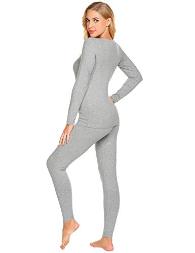 Ekouaer Thermal Underwear Women's Cotton Long Johns Set Scoop Neck Top & Bottom Pajama Winter Base Layering Set, Grey, Large by Ekouaer (Image #3)