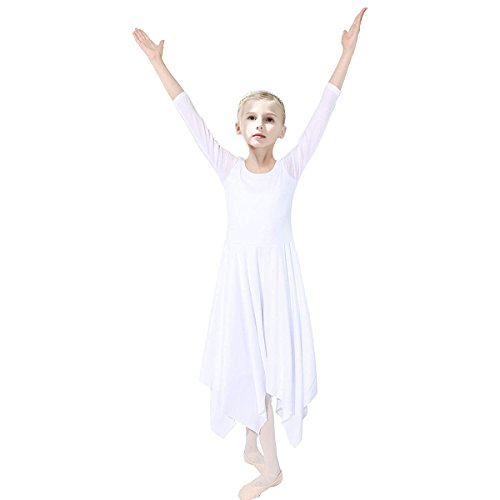 OBEEII Kid Girl Praise Liturgical Loose Fit Dance Dress Elegant Long Sleeve Irregular Hem Lyrical Dancewear Worship Costume White 3-4 (Dance Costumes Dancewear For Sale)