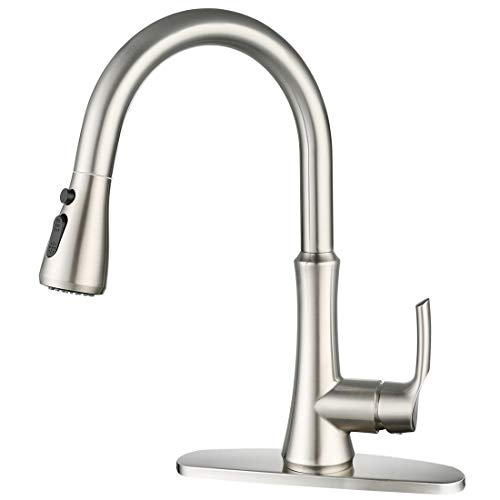 WOWOW Kitchen Faucet Single Handle Kitchen Sink Faucets with Pull Down Sprayer Brushed Nickel Commercial Kitchen Faucets Stainless Steel High Arc Faucet with Deck Plate