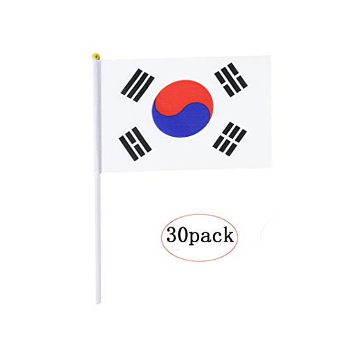 South Korea Stick Flag,Korean Hand Held Mini Small Flags On Stick International Country World Stick Flags For Party Classroom Olympics Festival Clubs Parades Parties Desk Decorations(30 pack)