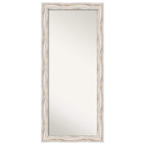 Amanti Art Framed Alexandria White Wash Solid Wood Wall Mirrors, Glass Size 53 x 21,