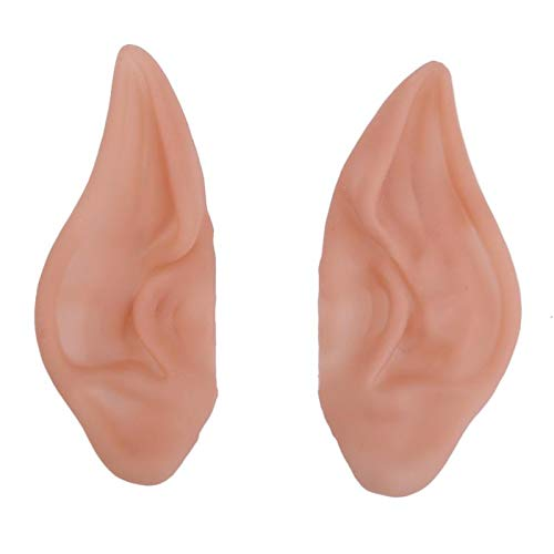 1 Pair Latex Fairy Pixie Elf Ears Cosplay Accessories Halloween Party Latex Soft Pointed Prosthetic Tips Ear E5M1