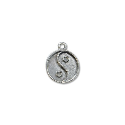 Charm for Jewelry Making - Yin / Yang 13mm Pewter Antique Silver Plated (1-Pc) Pewter Religious Charms