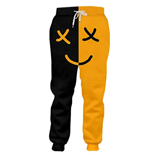 (Man Smiley Face Casual Sweatpants 3D Printed Black Yellow Expression Funny Pants Mens Clothing Expression)