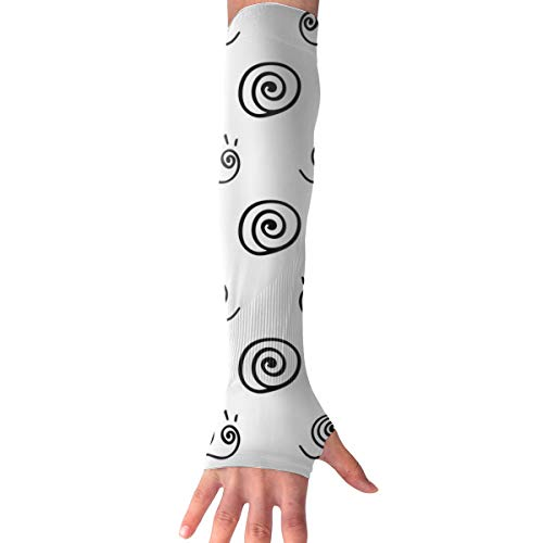 WAY.MAY Snail Silhouette Pattern Sun Protection Sleeve Long Arm Fingerless Gloves Outdoor Sleeve