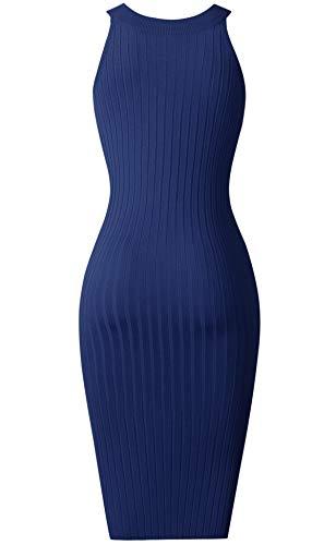 Manches Bleu Robe t Mini Bodycon Queen Fente aux Diana Licou Femmes Tricot DN004 Crayon Robe sans en UUaXqw