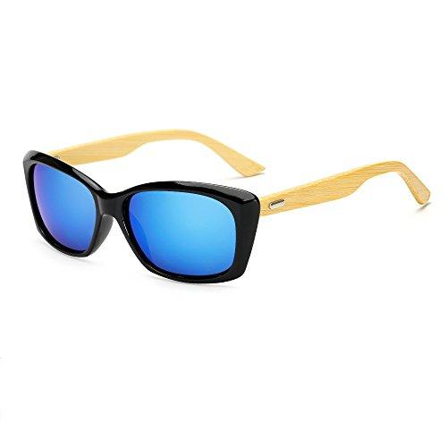 Weidan classic bamboo arm full frame sunglasses polarizer Ms. male traveler driving mirror 532 (Black frame / blue lens, - Where Prescription Sunglasses Cheap Get To