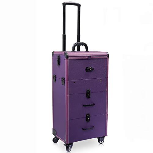 ネイル化粧トロリーケース、大容量化粧箱ケース荷物ローリング、多層美容院タトゥートロリースーツケース,Purple  Purple B07QSRVDM1
