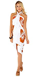 1 World Sarongs Womens Hawaiian Swimsuit Cover-Up Sarong in Your Choice of Color from 1 World Sarongs