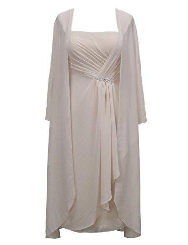 HarveyBridal Chiffon Mother Of The Bride Dresses Jacket Knee Length Champagne