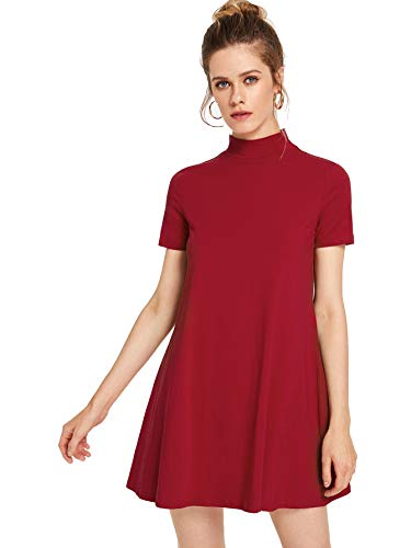 Milumia Women's Solid Swing Mock Neck Short Sleeve T Shirt Dress Jersey Dress Red Medium