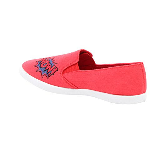 SHOEVIBE Shoe Vibe Kim Womens Casual Canvas Slip-On Sneaker With Patches Red iszbMz5rWw