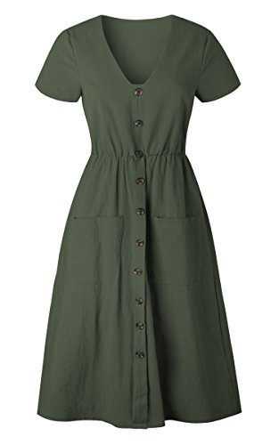Angashion Women's Dresses-Short Sleeve V Neck Button T Shirt Midi Skater Dress with Pockets by Angashion (Image #4)