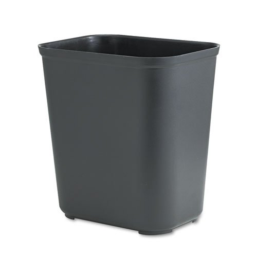 (Rubbermaid Commercial Fire-Resistant Wastebasket, Rectangular, Fiberglass, 7 gal, Black - Includes one each.)