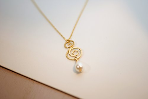 Gold Filled Dainty Hammered Spiral And Majorca Drop Cultured Pearl Pendant Necklace, Romantic Bridal Handmade (Spiral Drop Necklace)