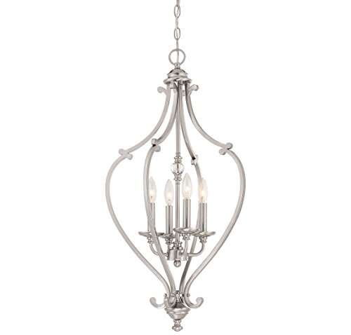 Savannah Chandelier Ceiling (Minka Lavery Minka 3333-84 Transitional Four Light Chandelier from Savannah Row Collection in Pwt, Nckl, B/S, Slvr.Finish, 17.25 Inches B/S 17.25 Inchesfour)