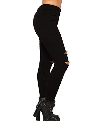 Jeans Ginocchio Alta Stretch Donna A Pantaloni Leggins Guiran Vita Skinny Leggings Nero Strappato Jeggings Up Boyfriend Push 4tF7qw75x