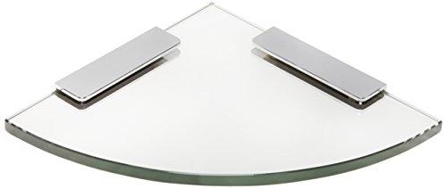 Spancraft Glass Quarter Round Glass Shower Shelf, Chrome Bracket, 4