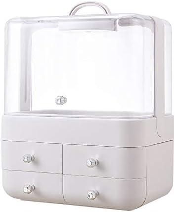 Hlake スクエア化粧品収納ボックス大容量デスクトップ仕上げラック防塵デスクトップホーム多機能ドレッシングテーブル口紅スキンケアラック (Color : B)