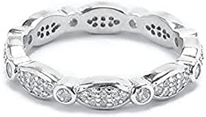 Morgan Jewelry Wedding And Engagement Ring With Solitaire Crystal For Women - 925 Sterling Silver