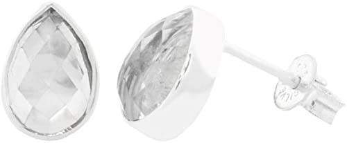 ERCE cristal de roca piedra semipreciosa pendientes gota, plata de ley 925