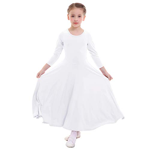 (IMEKIS Girl Praise Dance Circle Dress Full Length Christian Long Sleeve Liturgical Loose Soft Costume Baptism Dress Holy Communion Party Princess Dresses for Kids Junior White 9-10)