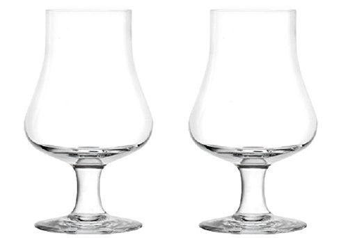 Brilliant - Highland Tasting and Nosing Scotch Glass on a Short Stem, 6.75oz. Set of 2 in Individual Gift Boxes