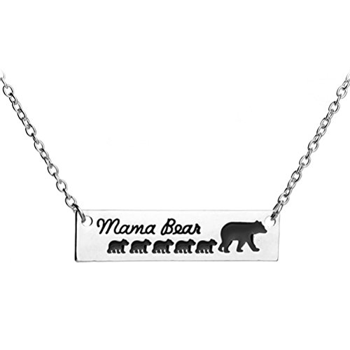 Mama Bear Necklace 5 Cubs Baby Mother Child Bar Pendant Women Girl Mom Charm