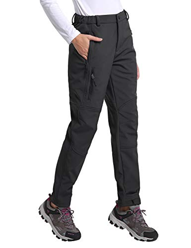 BALEAF Women's Hiking Fleece-Lined Ski Pants Windproof Water-Resistant Outdoor Insulated Soft Shell