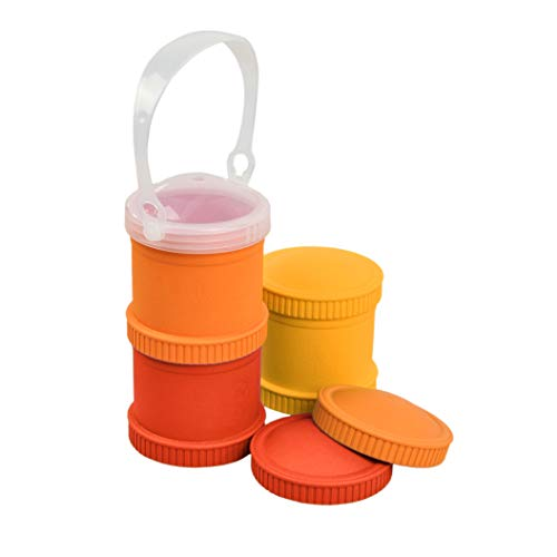 Re-Play Made in The USA 7 Piece Stackable Food and Snack Storage Containers for Babies, Toddlers and Kids of All Ages - Sunny Yellow, Red, Orange (Fall)