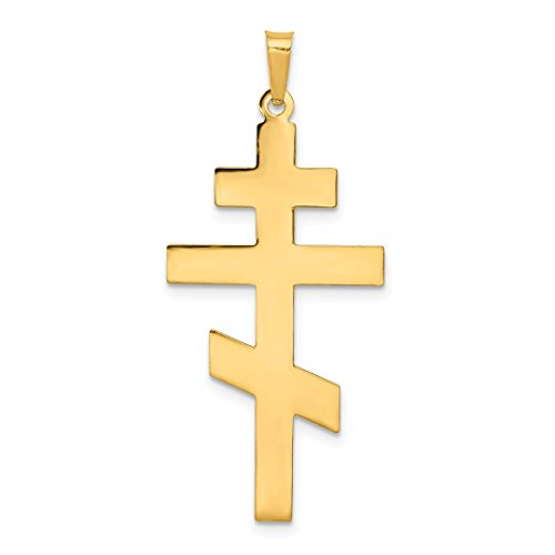14k Yellow Gold Eastern Orthodox Cross Religious Pendant Charm Necklace Fine Jewelry Gifts For Women For Her