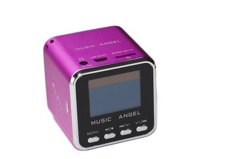 BLUEBD@ MUSIC ANGEL (Original) -pink-tragbarer mini Stereo Lautsprecher / Boxen / Soundstation / Lautsprechersystem mit eingebautem Radio, Wecker, Uhr, USB-Slot, Micro-SD Kartenslot