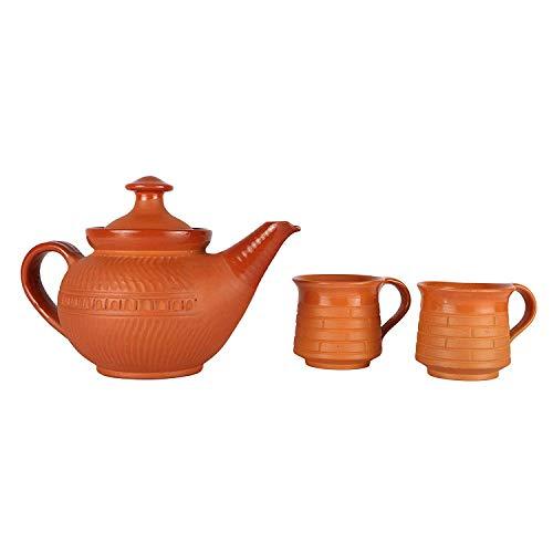 Odishabazaar Handmade Earthenware/Clay 1 Tea Pot & 2 Tea Cups