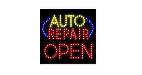 (LED Auto Repair and Care Open Light Sign Super Bright Advertising Display Board Banner for Car Care Repair and Maintenance Service Business Retail Shop Store Window 16 x 16)