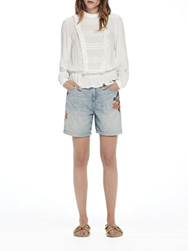 Fit Embroideries With Scotch Dust amp; Para Soda blue Mujer Azul 2007 Flower Destroyed Shorts Pantalones Friend Cortos qpqw1nBUt