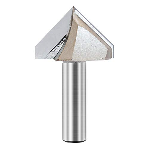 V Groove Router Bit 90 Degree Double Flute Chamfer and Bevel Bit Carbide Tipped Woodworking Tool Engraving Router Bit 2'' Dia x 1/2 Inch Shank