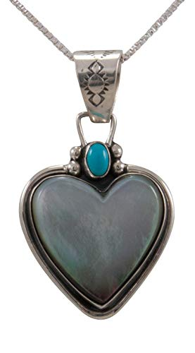 Turquoise Canyon Navajo Native American Black Lip Mother of Pearl Pendant Necklace by Willeto SKU231662