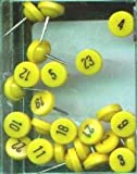 Numbered Map Tacks - Yellow Pins with Black Numbers (20 Boxes of 25: Numbers 1-500)