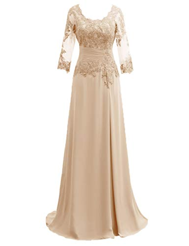 Mother of The Bride Dress with Long Sleeves Chiffon Mother Dress Lace Formal Evening Gown for Wedding Champagne