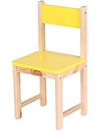 IKAYAA Wooden Kids Chair Stacking School Chair Furniture 6 Colors  Available, Yellow