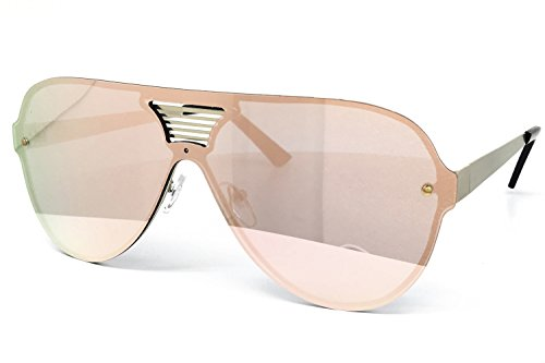 [O2 Eyewear 528 Oversize Wraparound One Piece Rimless Shield Lens The Rockstar Handcrafted Designer Futuristic Flat Top Sport Aviator Womens Mens Sunglasses (Wraparound One Piece, ROSE GOLD)] (Gold Wrap Around Sunglasses)