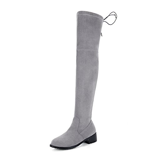 BalaMasa Womens Low-Heels Pull-On Solid Above-The-Knee Pointed-Toe Suede Boots ABL09709 Gray BP68D2yx