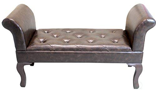 Uniquewise QI003274L Brown Faux Leather Bed-End Bench