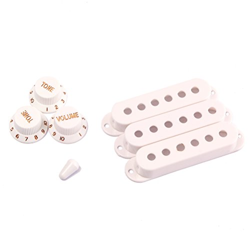WINOMO Fender Stratocaster Replacement Accessory Kit Strat Guitar Pickup Covers Knobs Switch Tip Set White