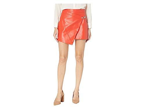 [BLANKNYC] Blank Denim Women's Asymmetrical Vegan Leather Skirt, Safe Word, Red, Orange, 28