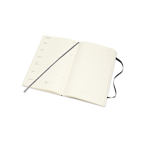 Moleskine 2018-2019 18M Weekly Notebook, Large, Weekly Notebook, Black, Soft Cover (5 x 8.25)